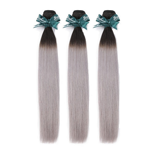 Rosabeauty 8A Straight Ombre Grey Hair Bundles 3:7