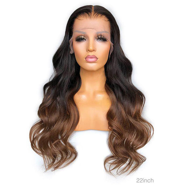 T Part Lace Ombre Body Wave Human Hair Lace Front Wig