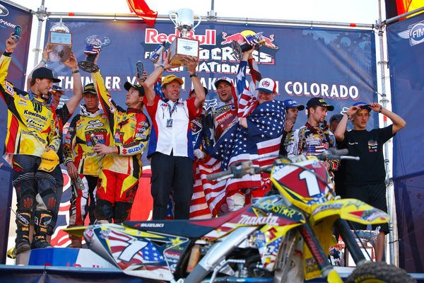 Team USA celebrating on the podium at Thunder Valley Motocross Park in Lakewood, Colorado in 2010