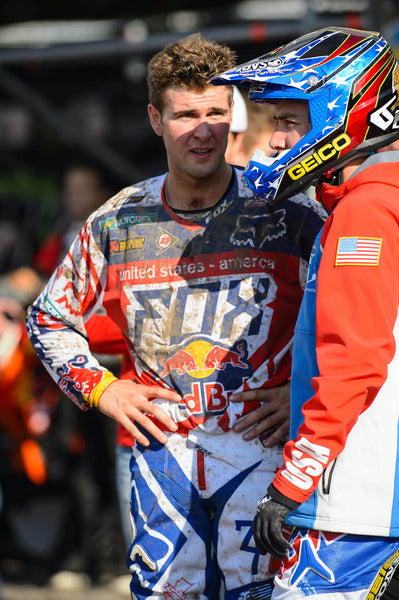 Ryan Dungey talking with teammate at Talkessel in Teutschenthal, Germany in 2013