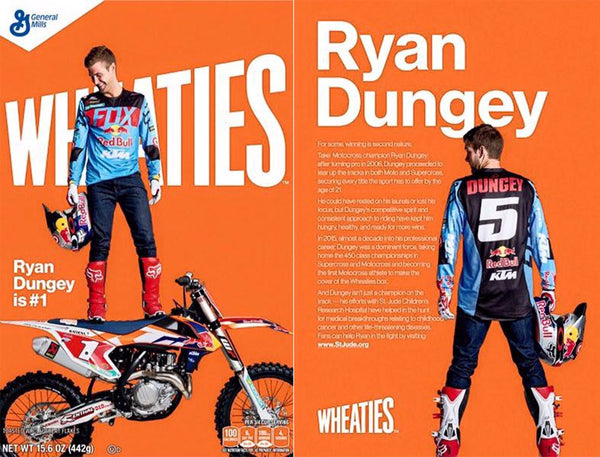 The content on the front and back of Wheaties box that featured Ryan Dungey