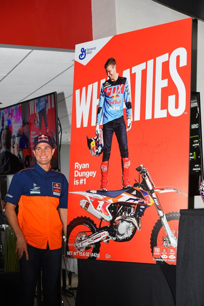 Ryan Dungey posing with the his Wheaties box cover art