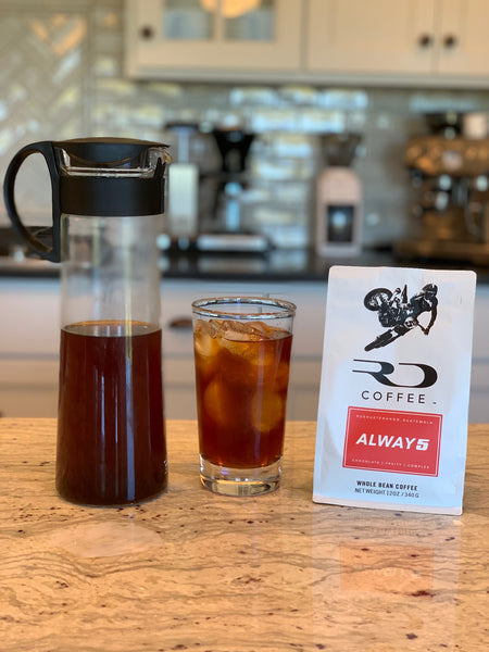 Cold Brew Coffee displayed next to a bag of RD Coffee's ALWAY5