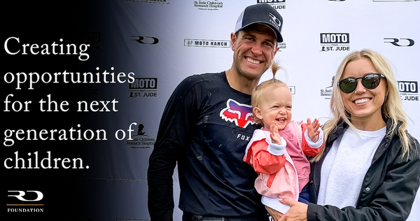 Ryan Dungey Foundation hero image, including an image of Ryan Dungey with his wife and daughter
