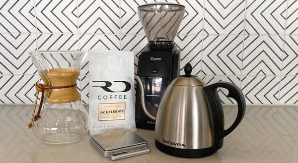 Supplies needed for a Chemex brew