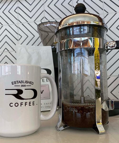 A plunged French Press, ready to drink