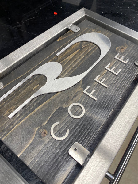 RD Coffee logo on retail display sign