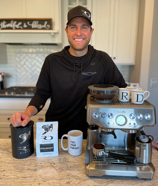 Ryan Dungey brewing some HOLESHOT espresso from RD Coffee