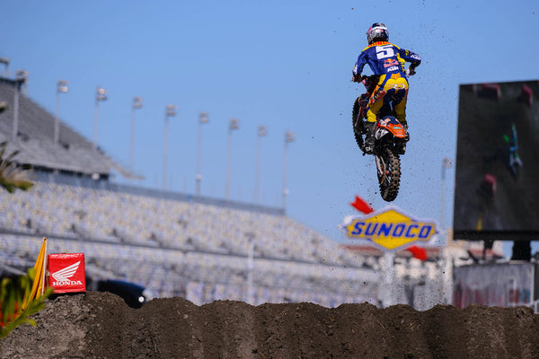 Ryan Dungey takes flight over the rutted Daytona Supercross track