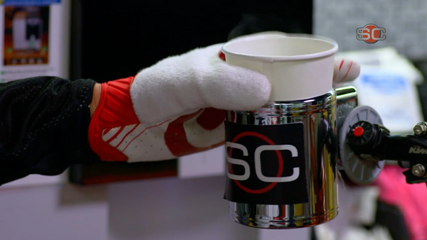 Hot coffee in the custom SportsCenter cup holder