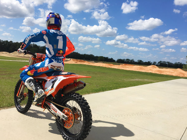 Ryan Dungey heading out for a supercross practice session on his KTM