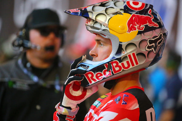 Ryan Dungey with his Target gloves and Helmet that includes Target logo