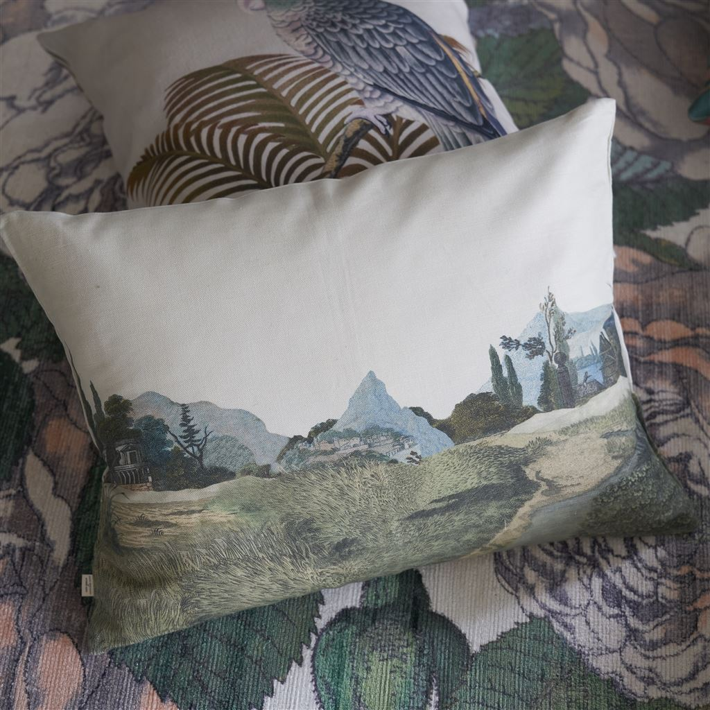 Designers Guild Birds of a Feather Parchment Decorative Pillow - Lavender Fields