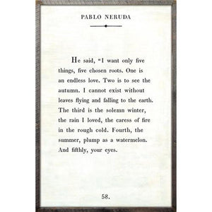 Sugarboo Designs Pablo Neruda Art Print Grey Wood
