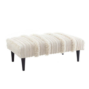 Dash and Albert Zhara Stripe Ivory Rug Ottoman - Lavender Fields