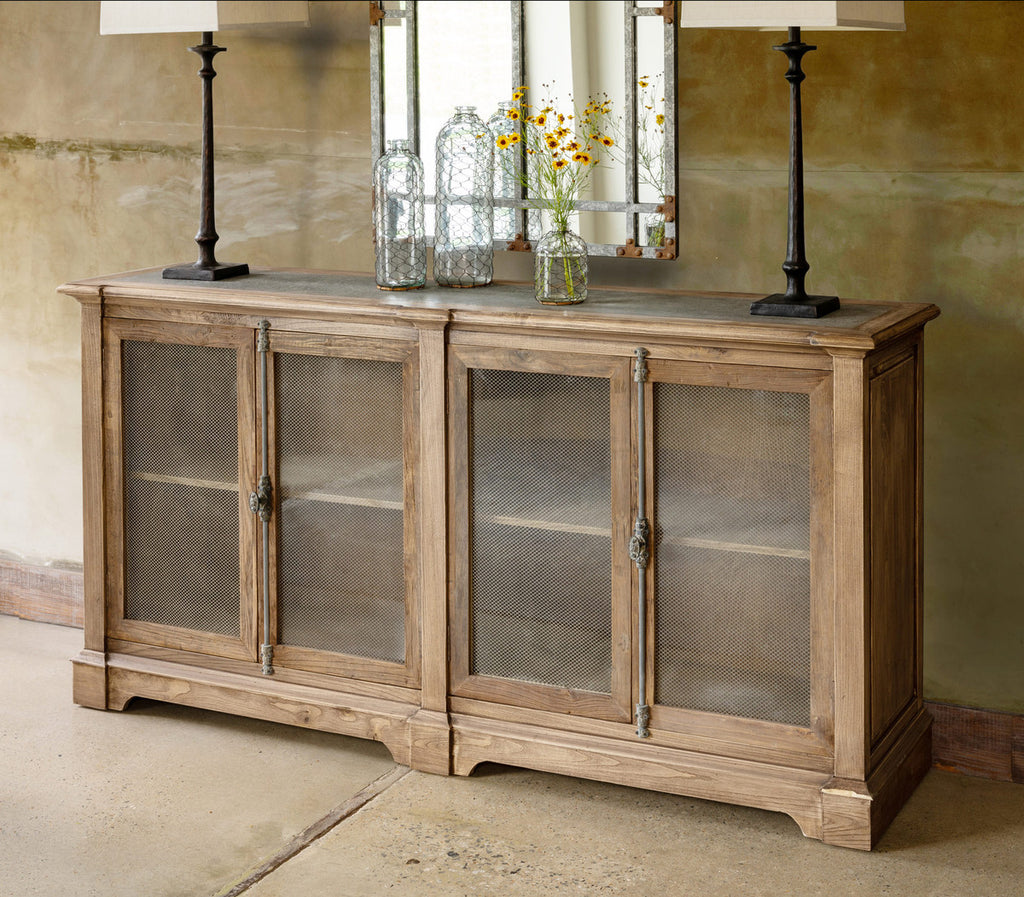 Aged Zinc Whiskey Cart Cabinet - Lavender Fields