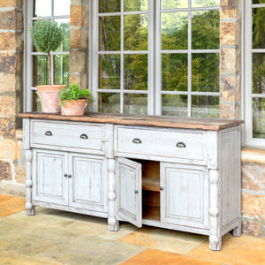 Painted French Buffet with Old Elm Top - Lavender Fields