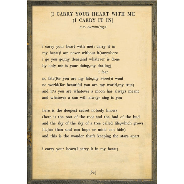 Sugarboo Designs I Carry Your Heart - Poetry Collection Sign