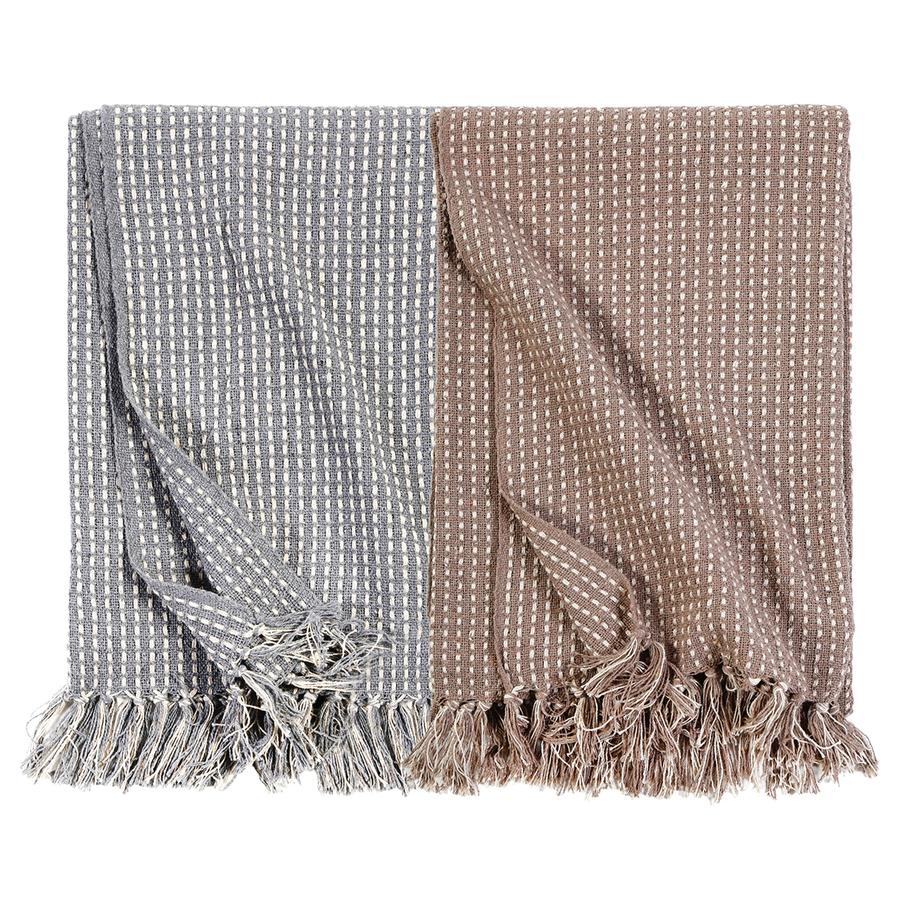 Pom Pom at Home Jasper Handwoven Oversized Throw - Blue/Grey - Lavender Fields