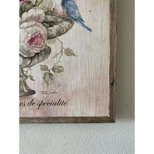 """Bluebird and Roses"" on Wood by Debi Coules - Lavender Fields"