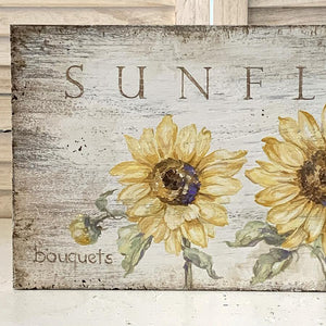 """Sunflowers"" Original Hand-Painted Sign by Debi Coules - Lavender Fields"