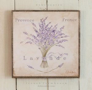 """Provence Lavender"" Barnwood on Wood French Farmhouse by Debi Coules - Lavender Fields"