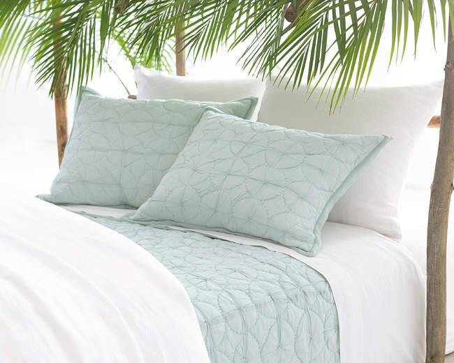 Pine Cone Hill Stone Washed Linen White Sham - Lavender Fields