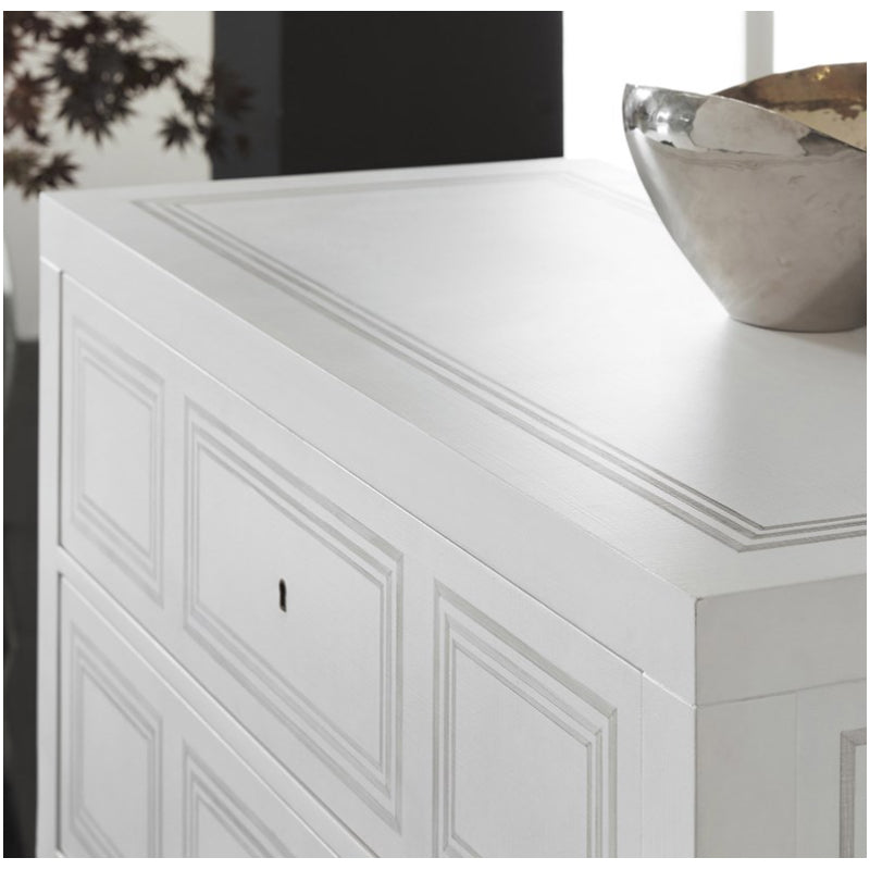 Modern History Milan Bedside-White Linen with Grey Accent