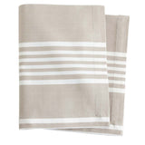 Pine Cone Hill Bistro Stripe Platinum Napkin - Set of 4 - Lavender Fields