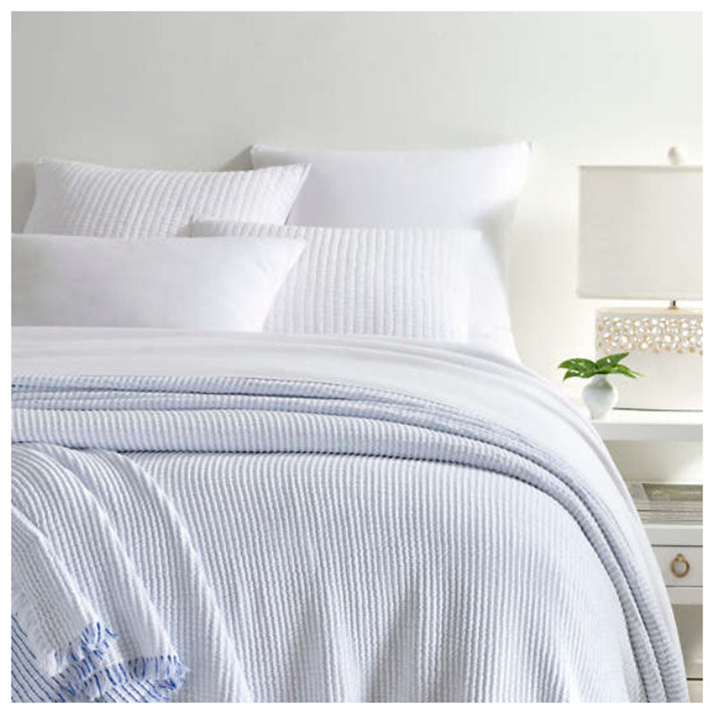 Pine Cone Hill Santo Stripe Blue Coverlet