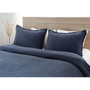 Pom Pom at Home Harbour Matelasse Navy Coverlet - Lavender Fields