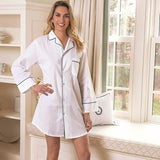 Jacaranda Living Ally White Cotton Nightshirt, Navy Piping - Lavender Fields