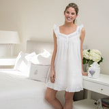 Jacaranda Living April White Cotton Nightgown - Lavender Fields