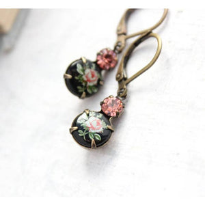 Black Glass Earrings - Pink Rose drop - Vintage Style