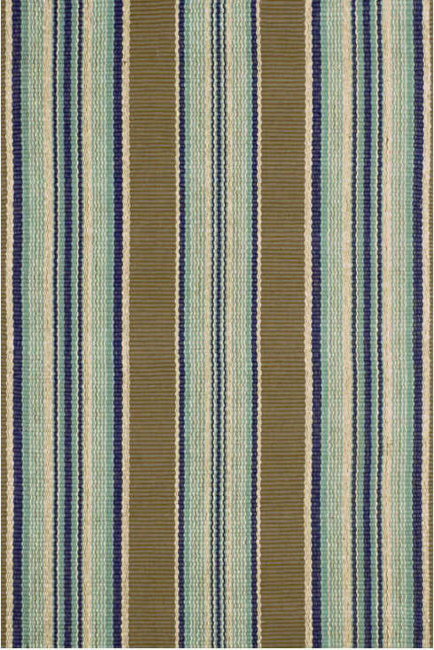 Dash and Albert Blue Heron Stripe Woven Cotton Rug