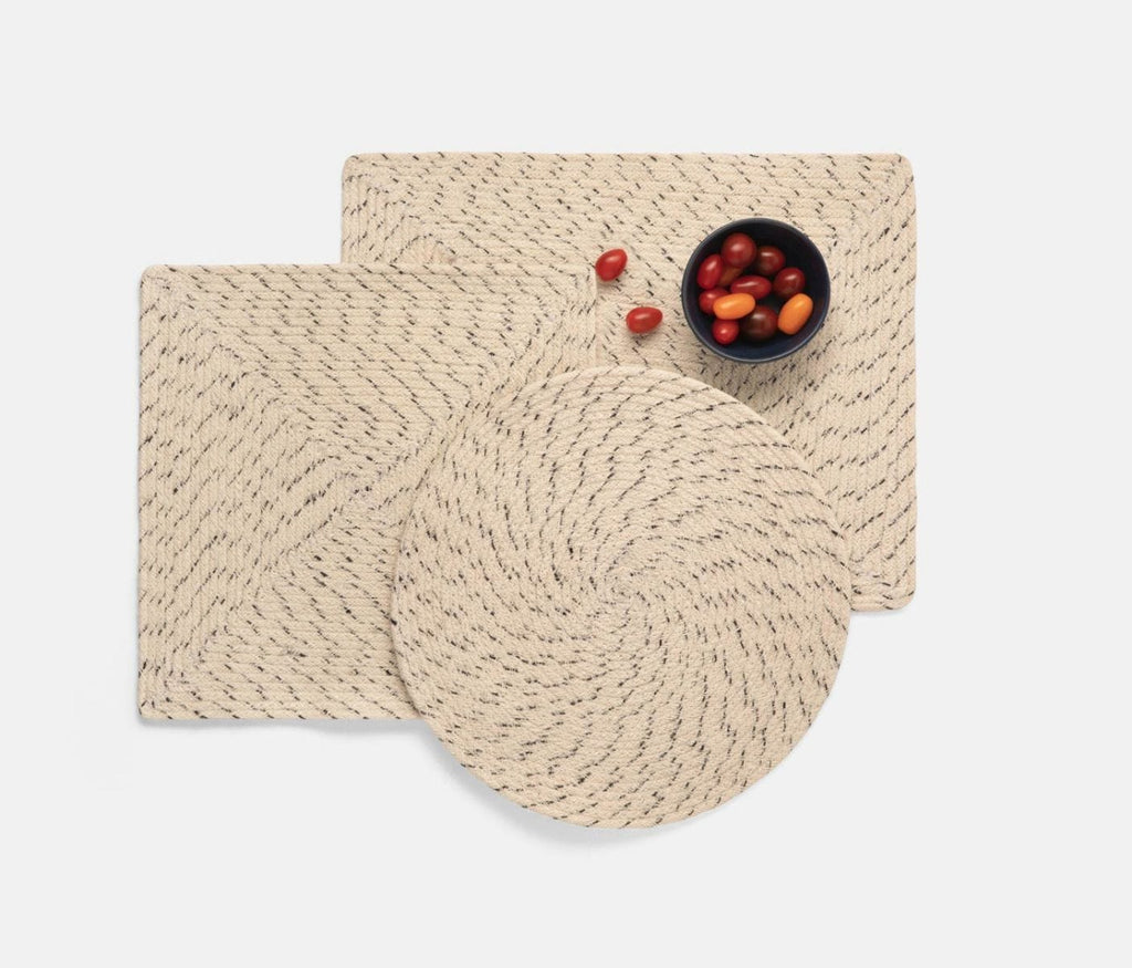 Blue Pheasant Atticus Speckled White Placemats