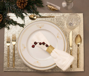 Blue Pheasant Hannah Gold Trim with Holly Decor Dinnerware - Lavender Fields