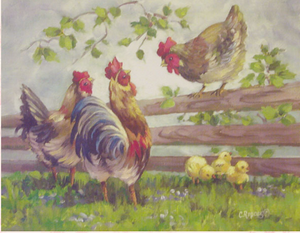 Christie Repasy Cackling Hens Original Canvas Print - Lavender Fields