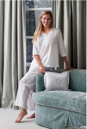 Jacaranda Living Caroline White Cotton Pajamas