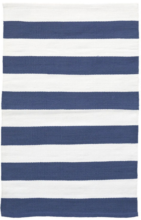 Dash and Albert Catamaran Stripe Denim/White Indoor/Outdoor Rug