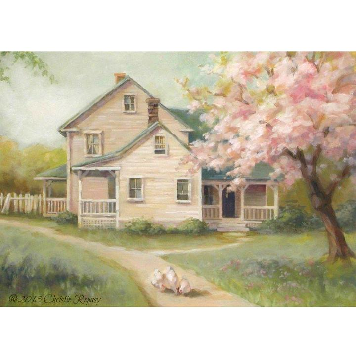 Christie Repasy Cherry Blossom Farm Original Canvas Print - Lavender Fields