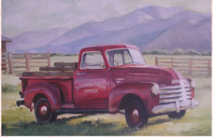Christie Repasy Rainbow Creek Ranch Truck Original Canvas Print - Lavender Fields