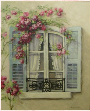Christie Repasy French Window Original Canvas Print - Lavender Fields