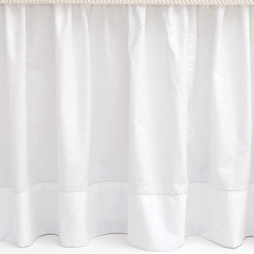 Pine Cone Hill Classic Hemstitch White Bed Skirt - Lavender Fields