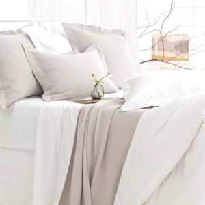 Pine Cone Hill Classic Hemstitch White Duvet Cover - Lavender Fields