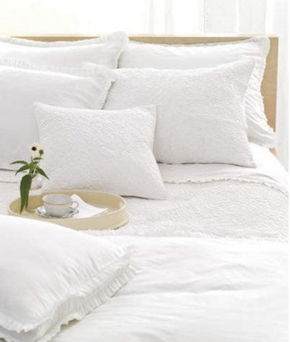 Pine Cone Hill Classic Ruffle White Pillowcases - Lavender Fields
