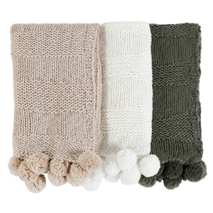Pom Pom at Home Oulu Winter White Throw - Lavender Fields
