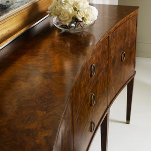 Modern History Concave Walnut Inlay Buffet
