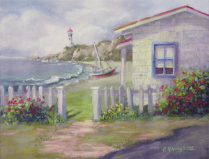 Christie Repasy Cottage by the Sea Original Canvas Print - Lavender Fields
