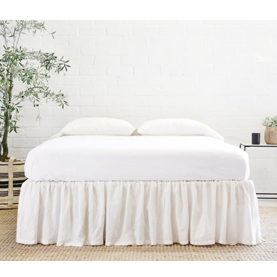 Pom Pom at Home Gathered Linen Cream Bedskirt - Lavender Fields